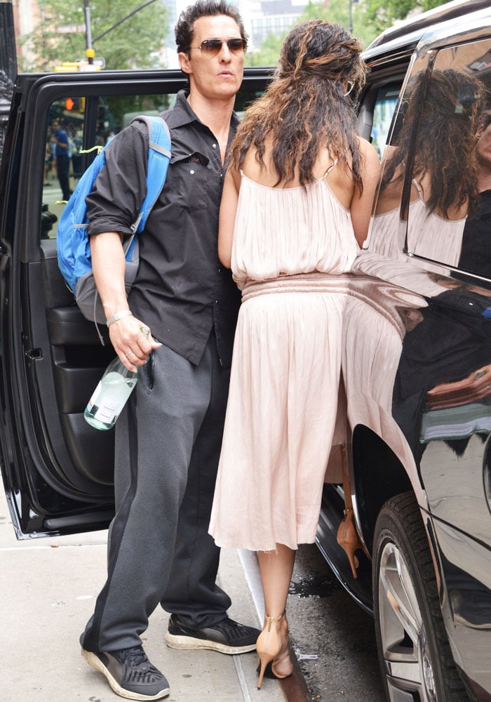 Camila Alves and husband Matthew McConaughey leave their hotel in New York