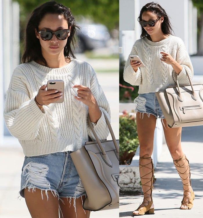 Cara-Santana-knit-sweater-top-distressed-shorts