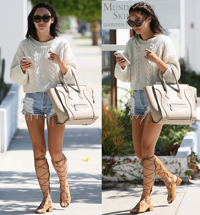 Cara-Santana-legs-gladiator-sandals-denim-shorts