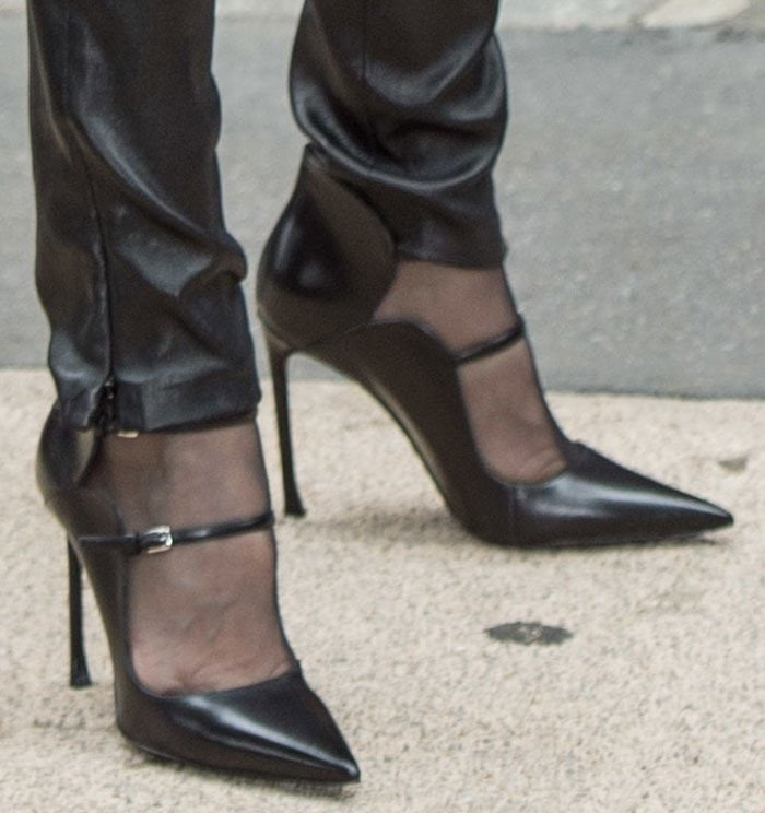 Celine Dion in shows off her feet in Christian Dior pumps