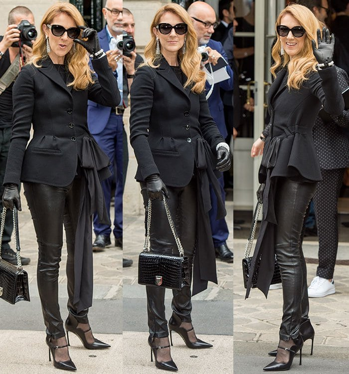 Celine Dion toting a chain-strapped crocodile-embossed handbag