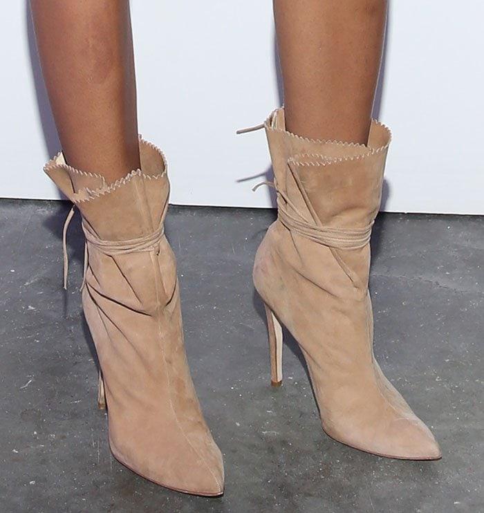 Chanel-Iman-wraparound-suede-boots