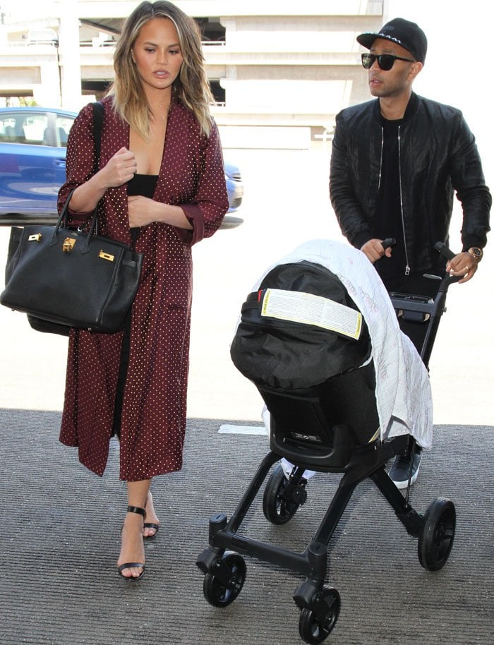 Chrissy Teigen Husband Daughter LAX Gianvito Rossi 4