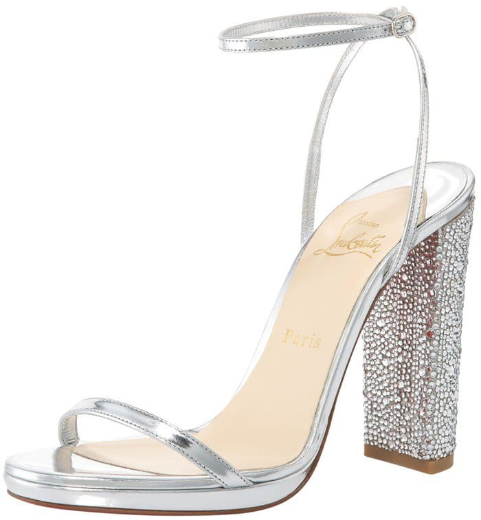 Christian Louboutin 'Au Palace' 120 Crystal-Heel Satin Sandals