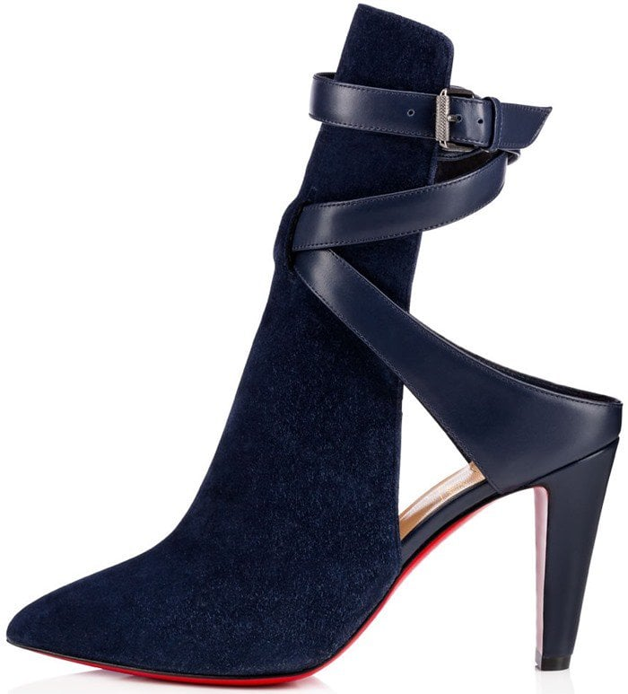 Christian Louboutin Pointipik 100 leather pump in dreamy night suede
