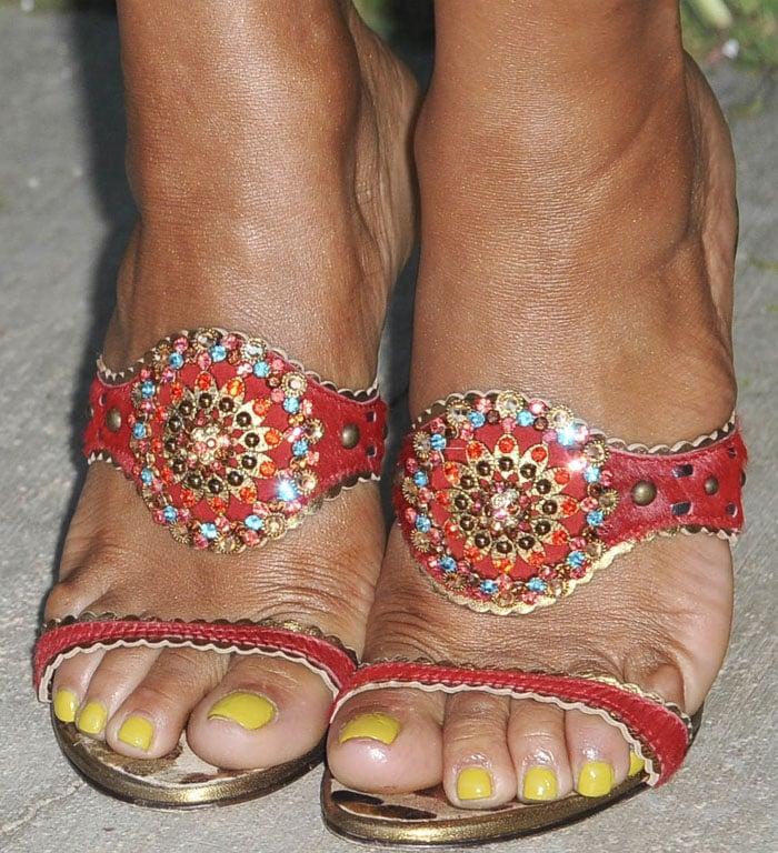 ChristinaMilian shows off her feet in Giuseppe Zanotti slides