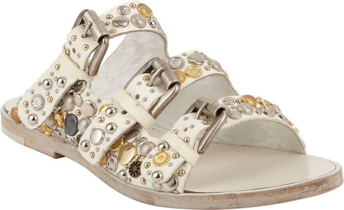 Collection Privee Embellished Triple Buckle Sandals