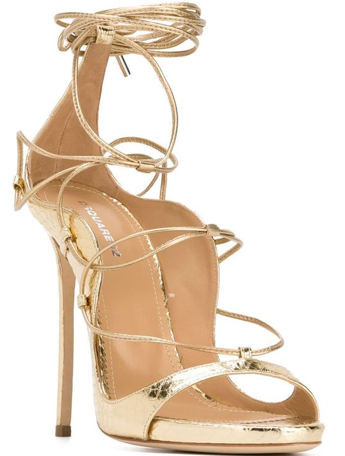 DSquared2 Riri Gold Leather Sandals