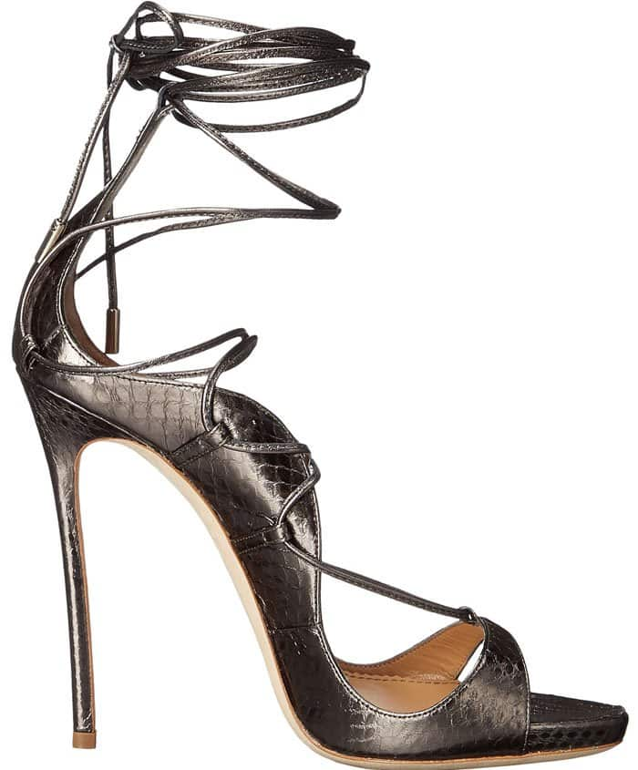 DSquared2 Riri Pewter Leather Sandals