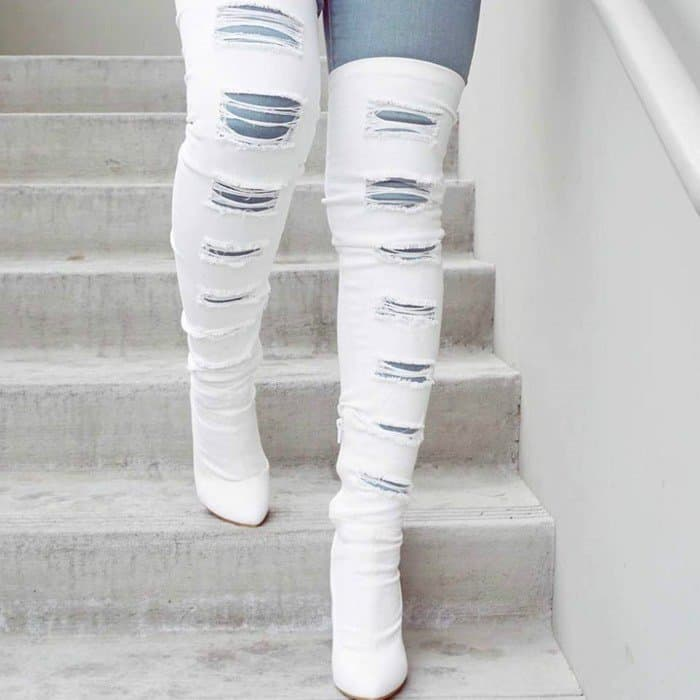 Sexy White Denim Thigh High Distressed Boots