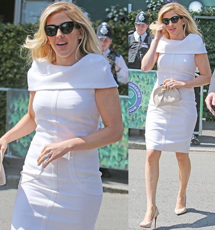 Ellie-Goulding-Suzannah-white-cape-shift-dress