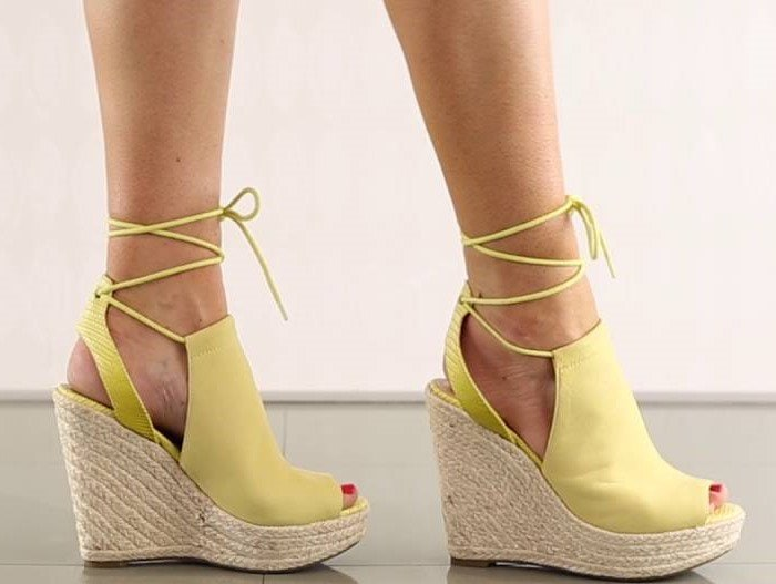 GUESS Orristi Yellow Suede Wedge Sandals