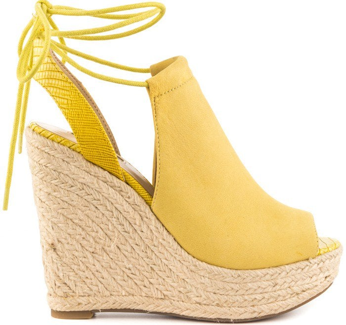 GUESS Orristi Yellow Suede Wedge
