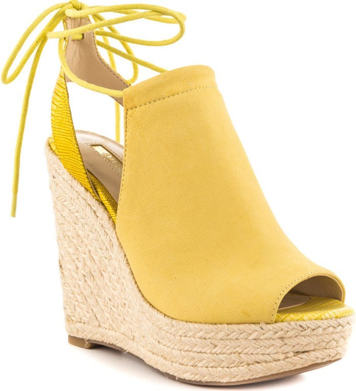 GUESS Orristi Yellow Suede Wedges