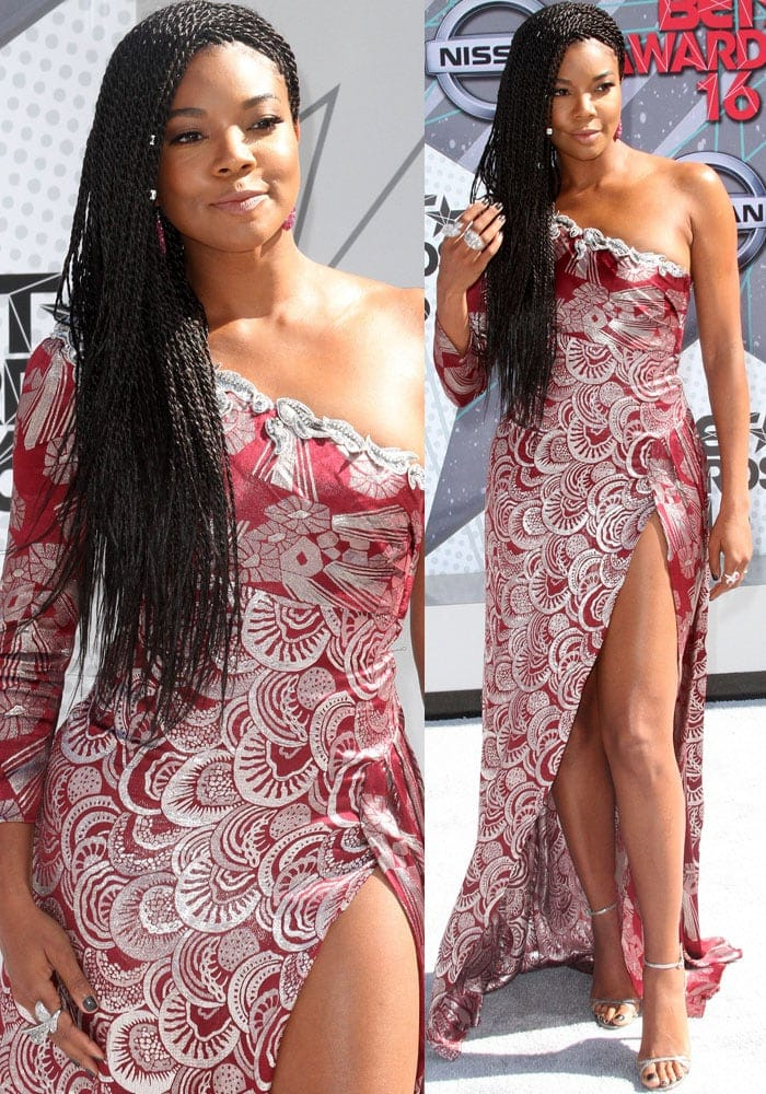 Gabrielle Union in an asymmetrical shoulder dress at the BET Awards