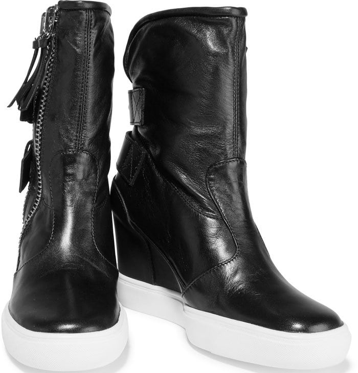 Giuseppe Zanotti Polished-Leather Wedge Sneakers
