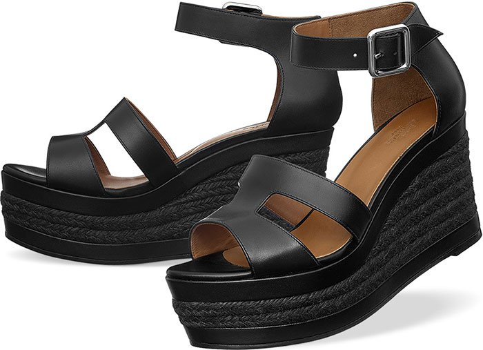 Hermes Ilana Espadrille Sandals Black