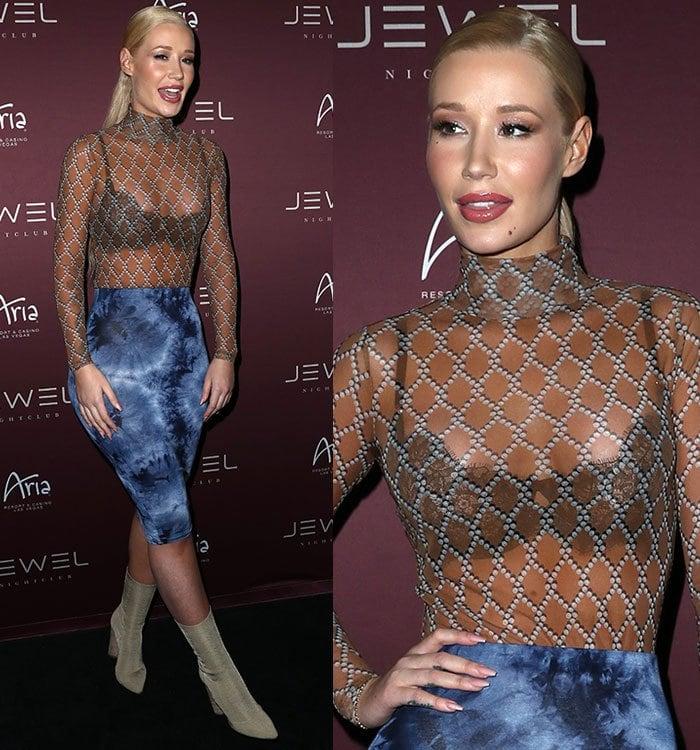 Iggy-Azalea-lace-bra-see-through-sheer-blouse
