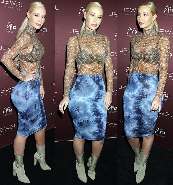 Iggy-Azalea-sheer-top-blue-tie-dye-skirt