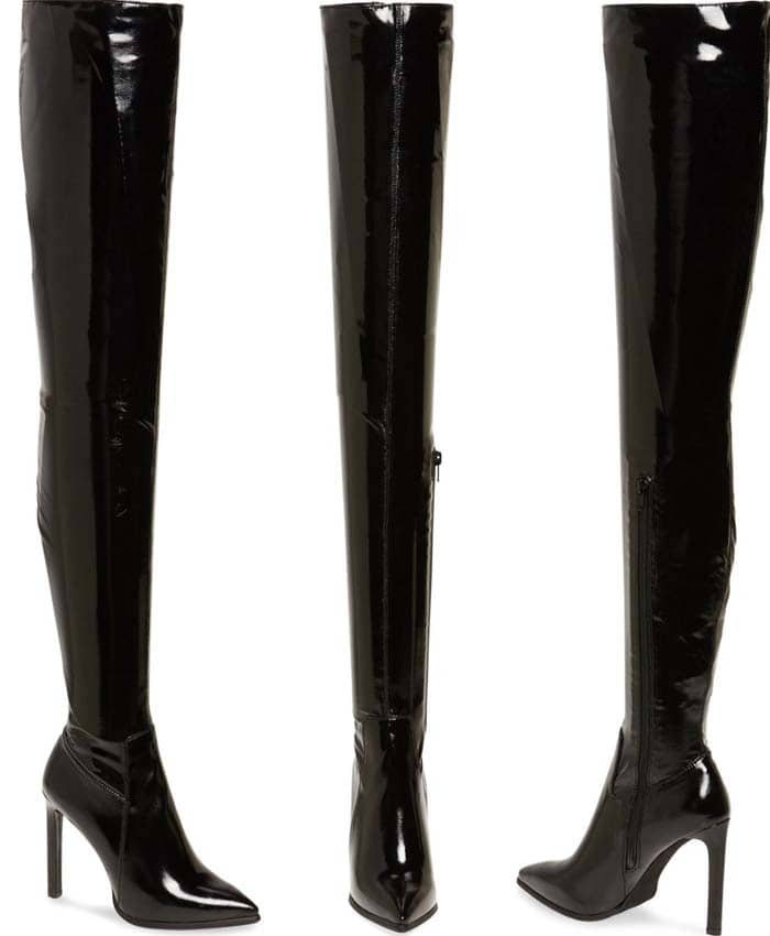 Major fashion moments are inevitable with this boldly designed thigh-high boot featuring a pointy toe, stiletto heel and edgy personality to spare