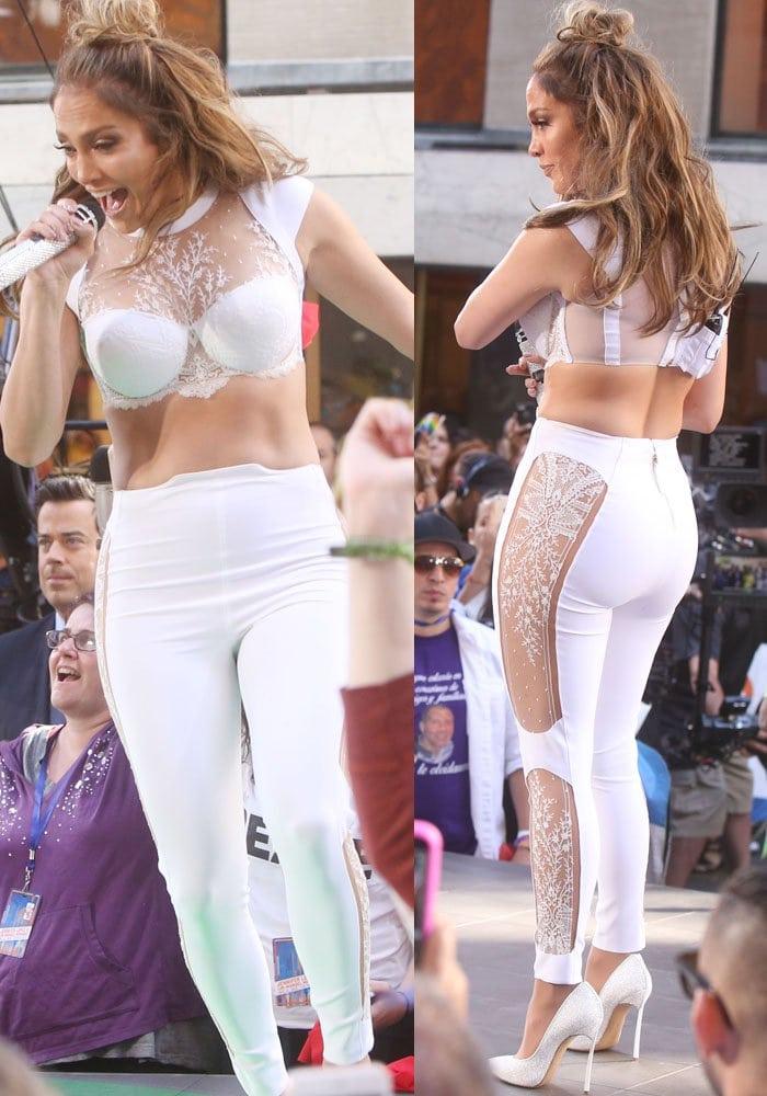 Jennifer Lopez ina white neoprene and lace bra top with matching pants from La Perla