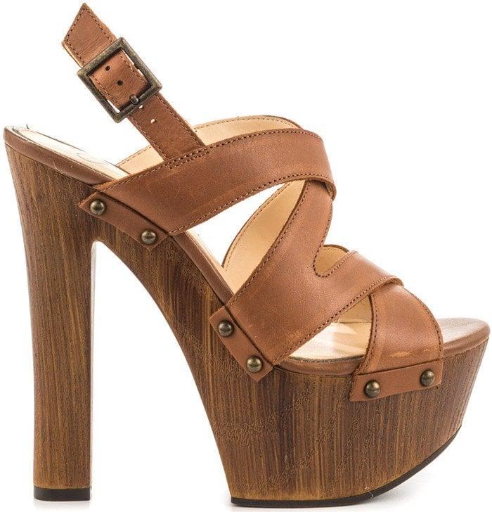 Jessica Simpson 'Damelo' Platform Sandal Brown Leather