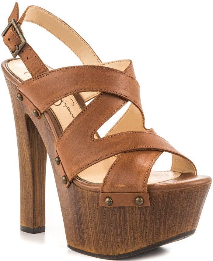 Jessica Simpson 'Damelo' Platform Sandals Brown Leather