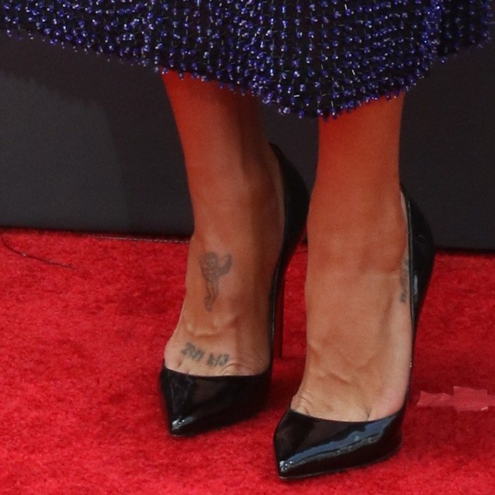 Jessica Szohr's angel tattoo design on her right foot