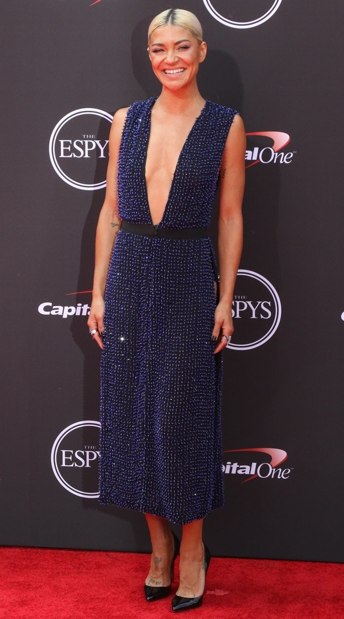 Jessica Szohr's navy beaded Steven Khalil dress at the 2018 ESPYs held at Microsoft Theater in Los Angeles on July 18, 2018