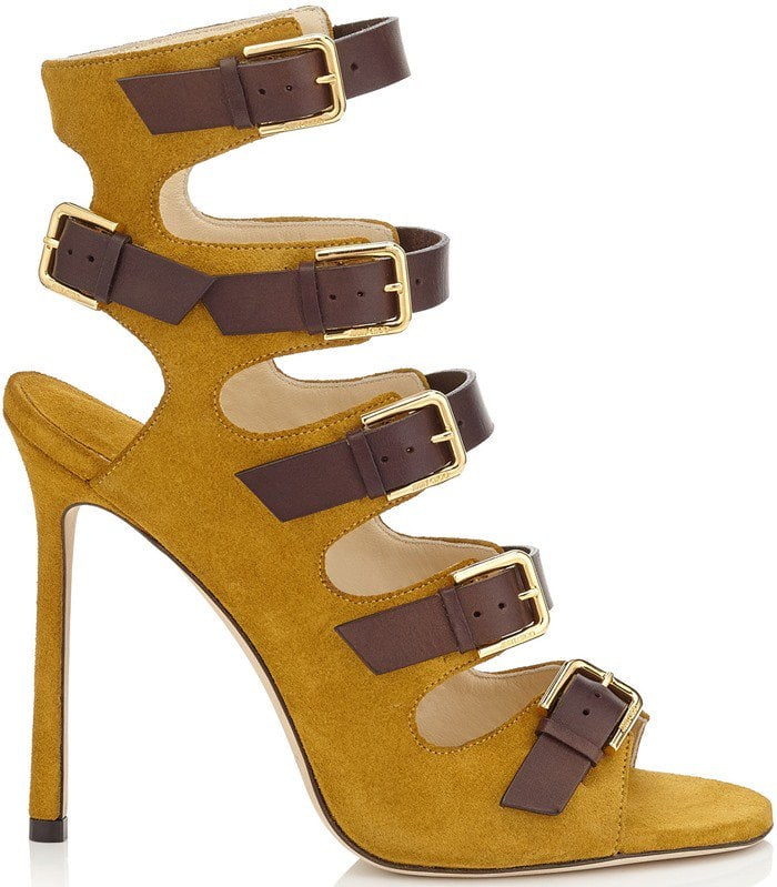 Jimmy Choo Trick Amber Suede and Dark Brown Leather Buckled Sandals