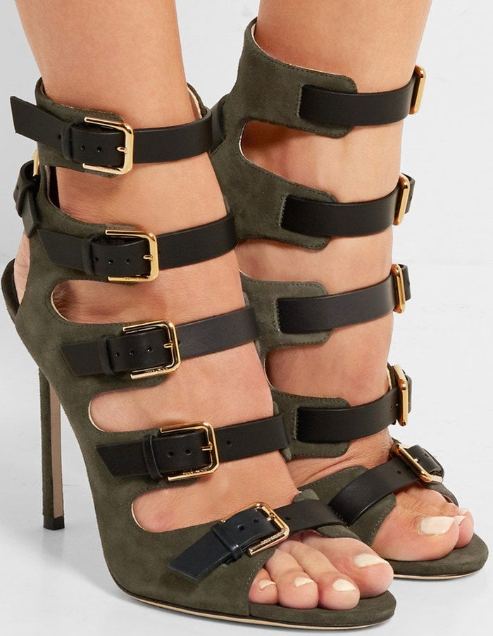 Jimmy Choo Trick suede and leather sandal