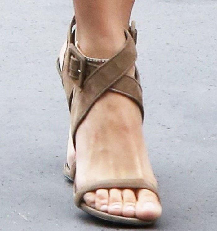 Joan Smalls PFW Versace Criss Cross Sandals 2