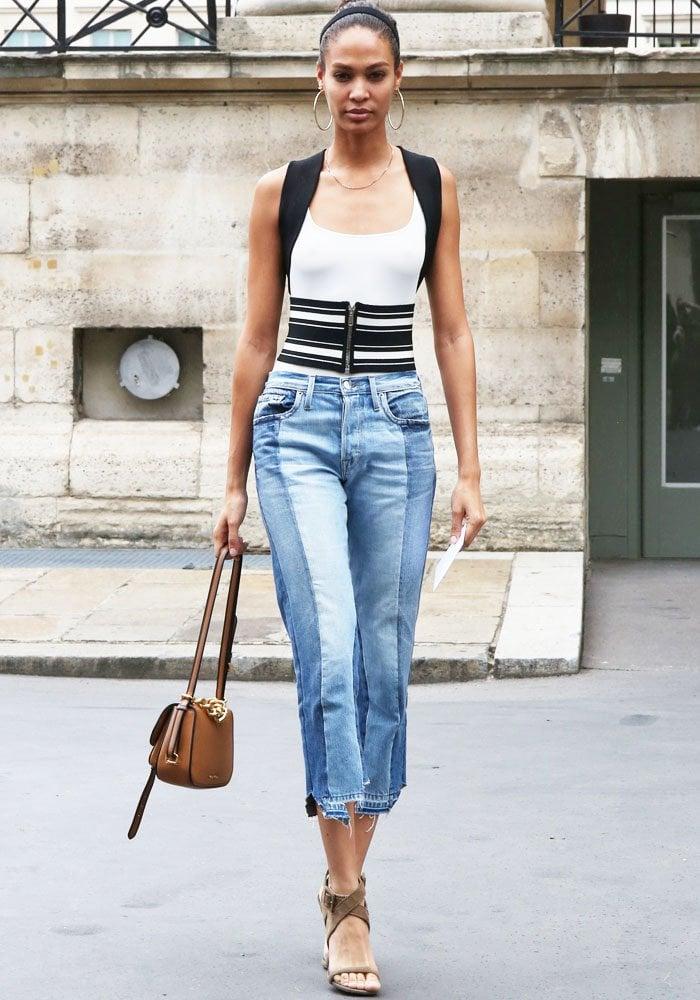 Joan Smalls PFW Versace Criss Cross Sandals 3