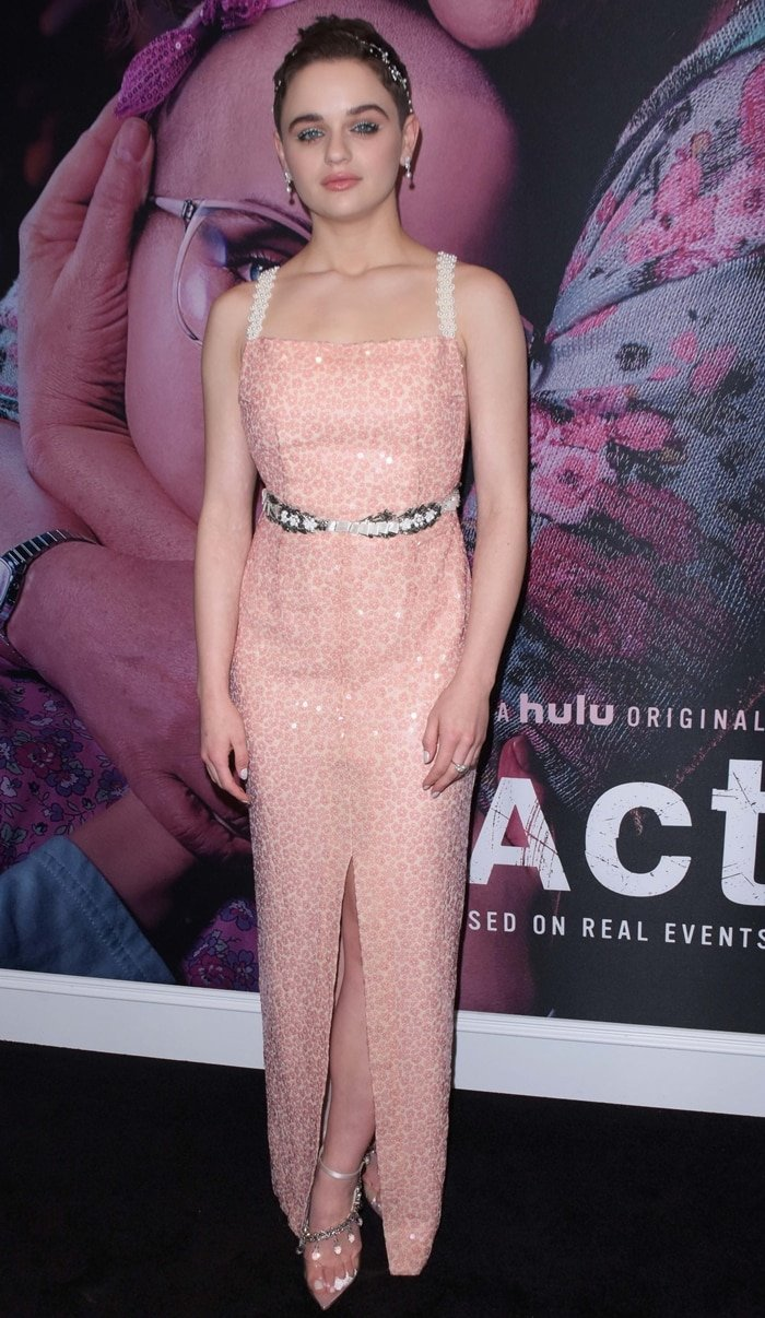 Joey King flashed some leg at the premiere of her new Hulu series The Act