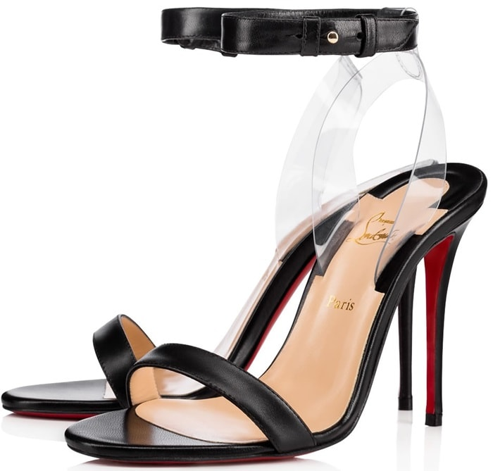 A svelte ankle strap appears to float above a gorgeous sandal lifted by a covered stiletto heel