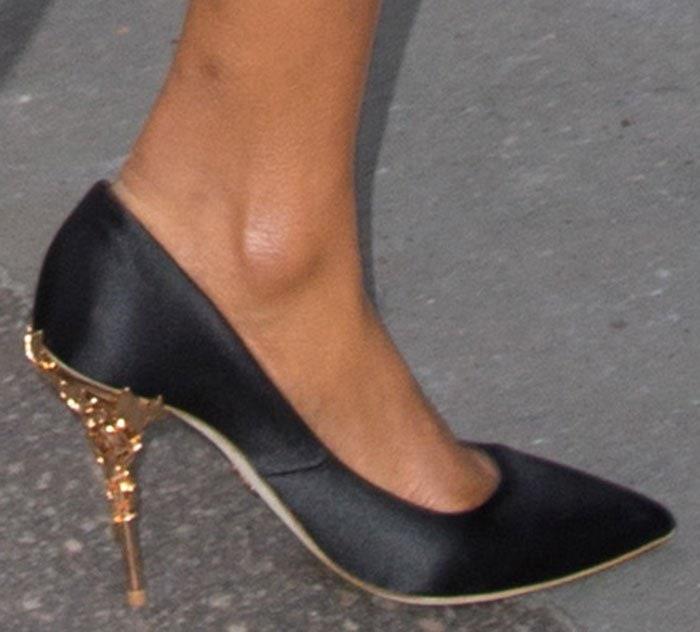 5d744a2dd237a Jourdan Dunn rocks black satin Eden heels by Ralph   Russo