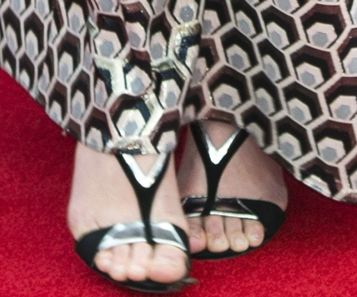 "Julia Stiles's feet in ""Welch"" sandals from Jerome C. Rousseau"