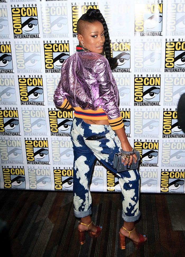 KeKe-Palmer-Gucci-metallic-jacket-Bally-pants