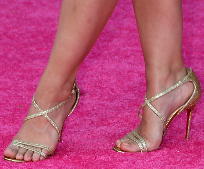 "Kristen Bell's sexy feet in Christian Louboutin ""Gwynitta"" sandals"