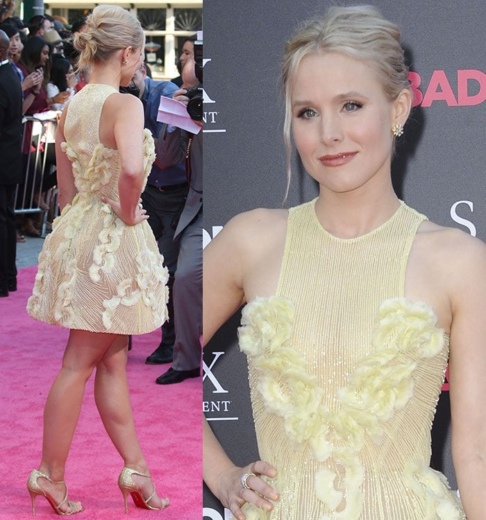 Kristen-Bell-Georges-Chakra-Couture-yellow-floral-mini-dress