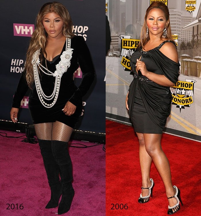 Lil' Kim at the VH1 Hip Hop Honors in 2016 and 2006