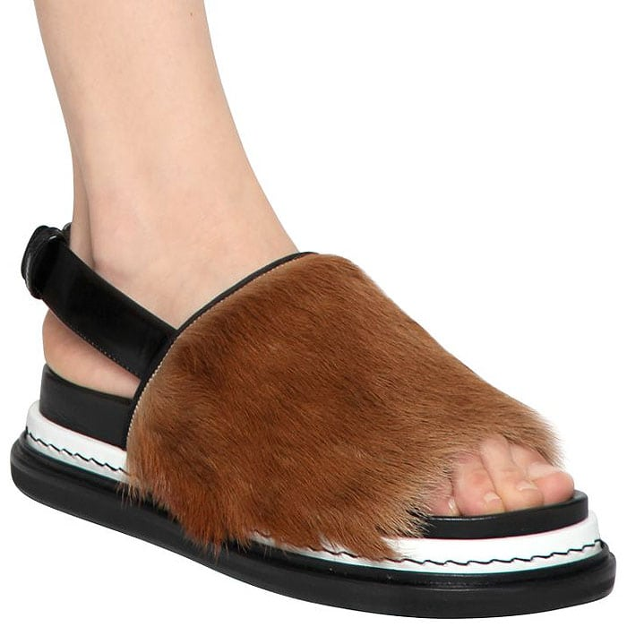 Marni Ponyhair slingback platform sandals