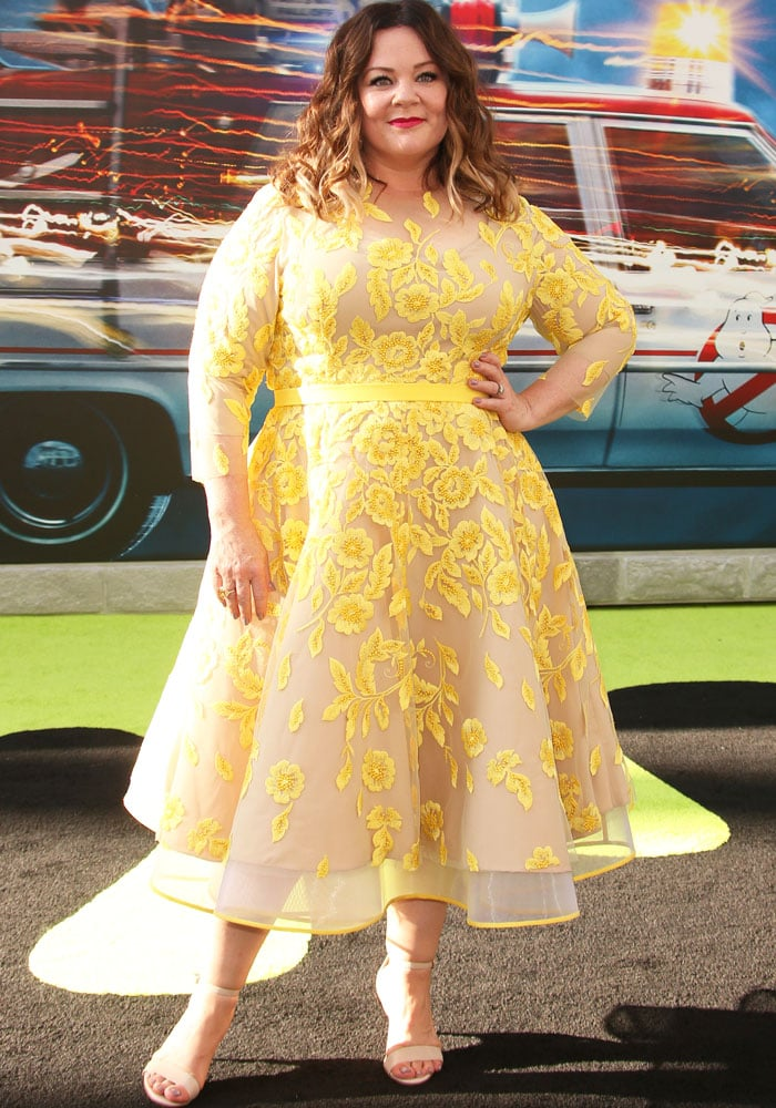 "Melissa McCarthy, who plays the role of Dr. Abigail L. ""Abby"" Yates, at the premiere of Sony Pictures' ""Ghostbusters"""