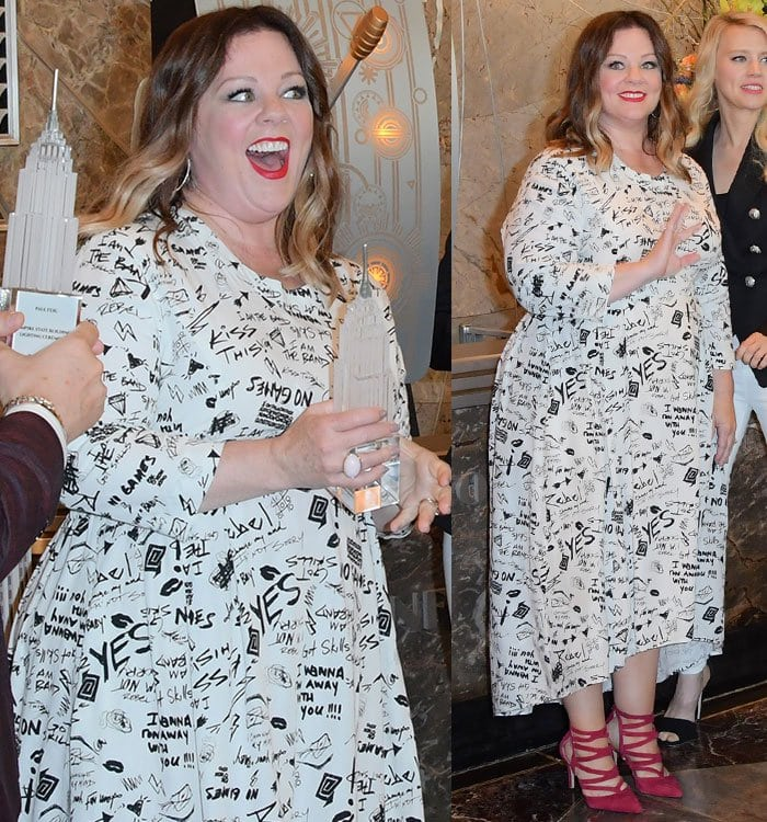 Melissa-McCarthy-graffiti-print-black-white-dress