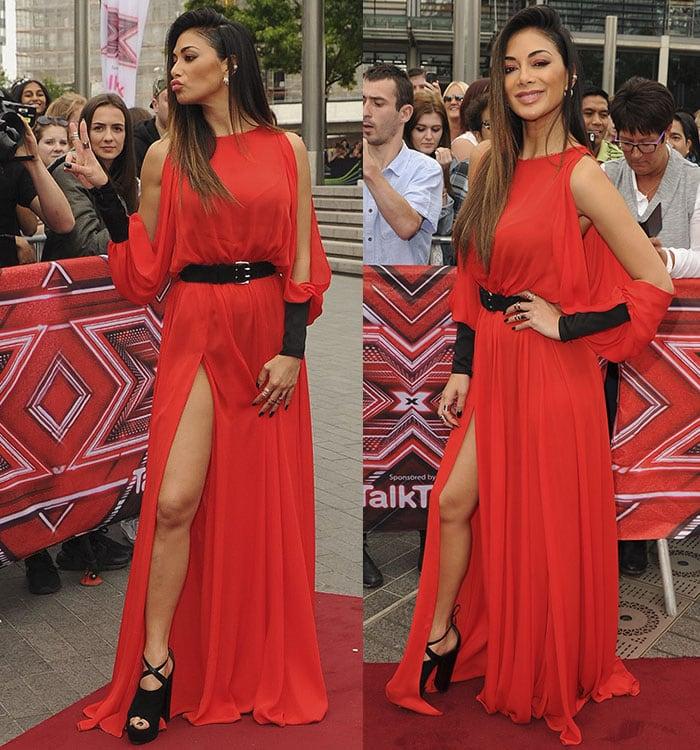 Nicole-Scherzinger-legs-Amanda-Wakeley-red-dress