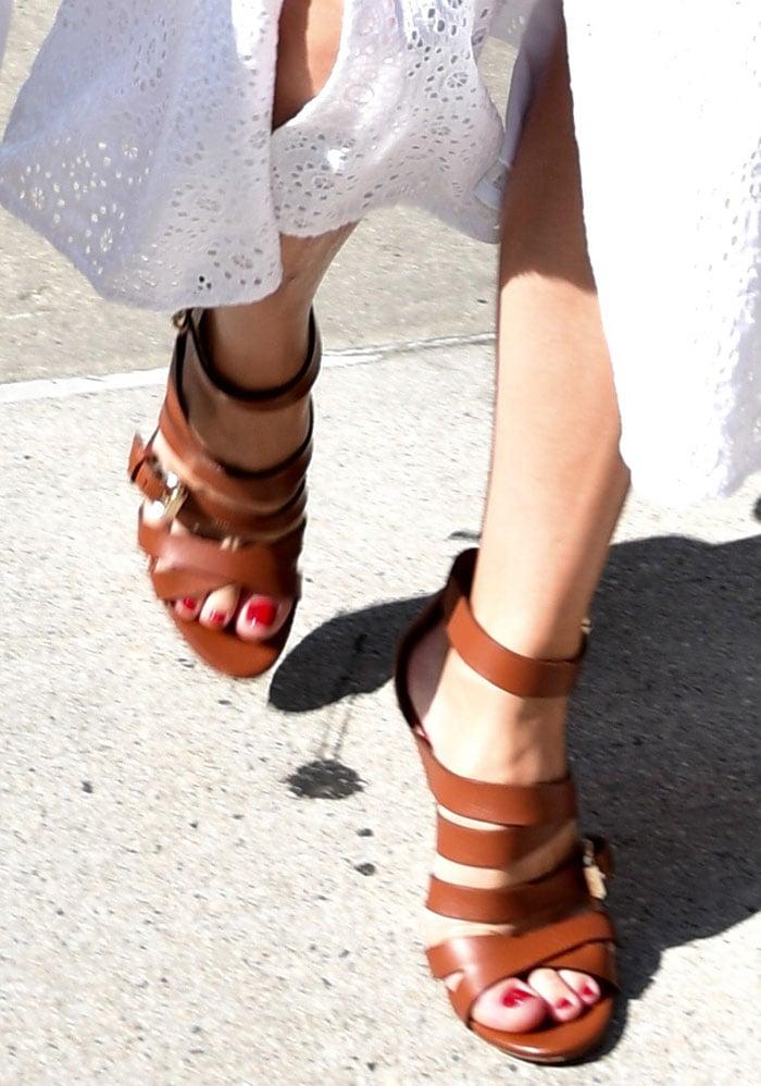 85edb498c6a Olivia Palermo Summer Chic in Brown Strappy Heels