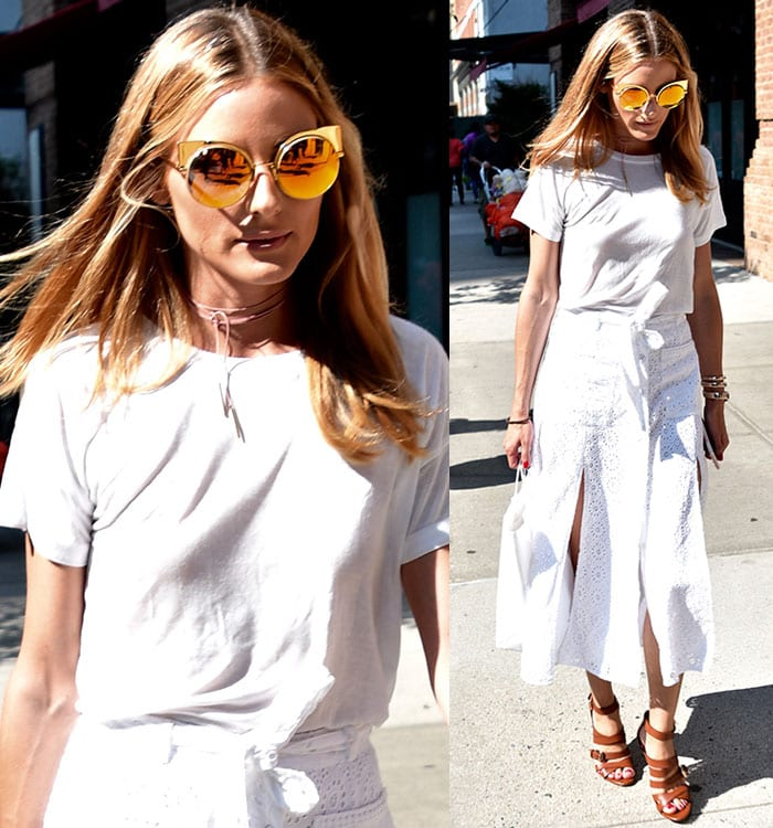 Olivia-Palermo-white-Drifter-tee-Tularosa-eyelet-skirt