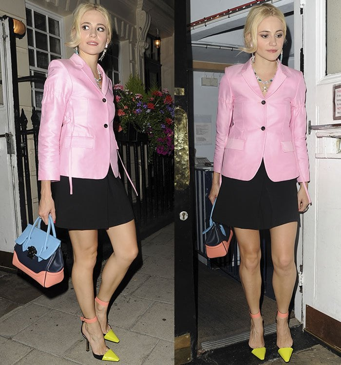 Pixie-Lott-pink-blazer-black-skirt-neon-heels