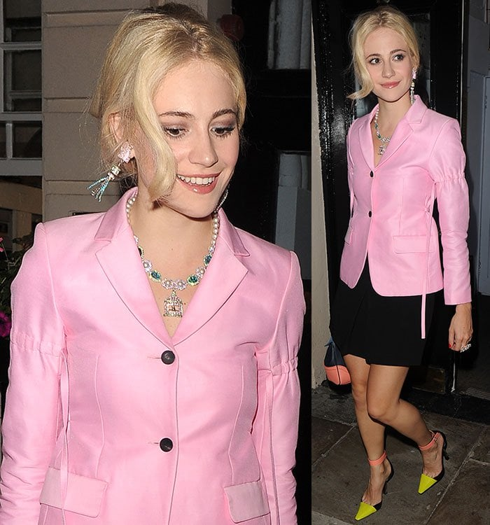 Pixie-Lott-statement-earrings-necklace-pink-blazer