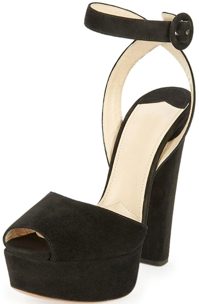 Prada Suede Platform Ankle-Wrap Sandals